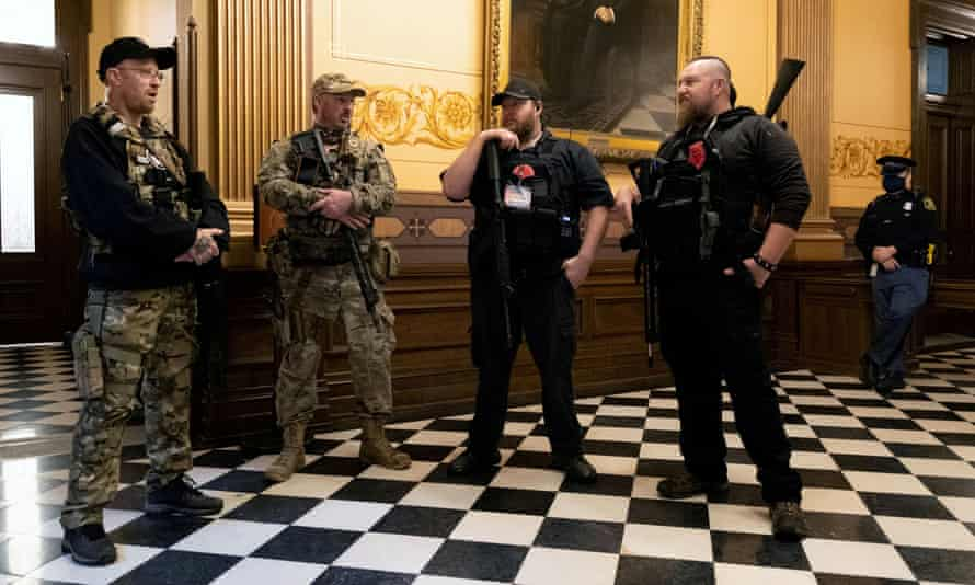Members of a militia group, including Michael John Null and Willam Grant Null (R) who were charged October 8, 2020 for their involvement in a plot to kidnap the Michigan governor.
