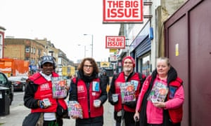 Big Issue vendors, Easton Christian, Emma Ford, Paul Logan and Mary Holden, who will now be able to offer their customers the option to pay for the magazine by card.