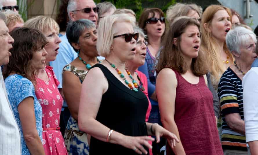 A community choir singing at Warwick Folk Festival