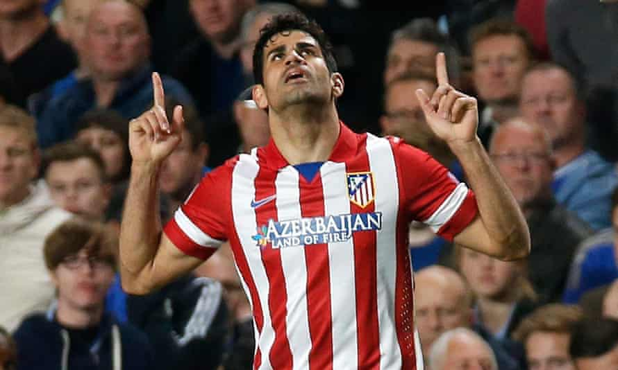 Atlético Madrid had shirt sponsorship from Azerbaijan in the past. Here Diego Costa celebrates a goal against Chelsea in 2014.