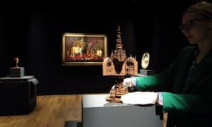 A boxwood miniature triptych on display in the exhibition