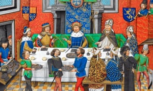 John of Gaunt, duke of Lancaster, dining with John I, king of Portugal. John of Gaunt, son of Edward III, was the de facto ruler of England in 1376 and an indirect target of the Good Parliament's use of impeachment.