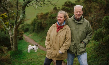 Raynor Winn, in Polruan, Cornwall, with her husband, Moth, and their dog Monty.
