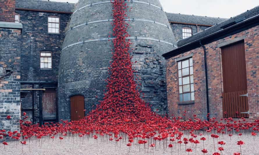 Poppies 'Weeping Window'  at Middleport Pottery, Stoke-on-Trent