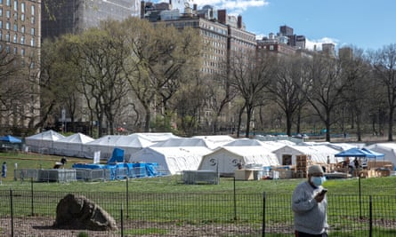 An emergency field hospital is set up in Central Park