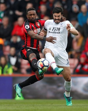 Crystal Palace's James Tomkins challenges Bournemouth's Jermain Defoe for possession as they see out a 2-2 draw at the Vitality Stadium.