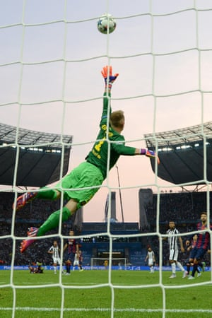 Barcelona goalkeeper Marc-Andre ter Stegen dives he's not troubled as the ball whistles over the bar.