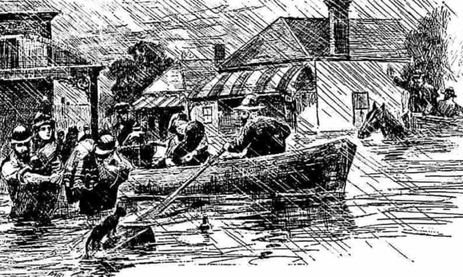 """""""The Inundations at Marrickville: Rescuing the Homeless May 1889"""" – an illustration in the 6 June 1889 issue of Illustrated Sydney News."""