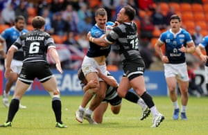 Toulouse Olympique in action against Toronto Wolfpack at Bloomfield Road in Blackpool.
