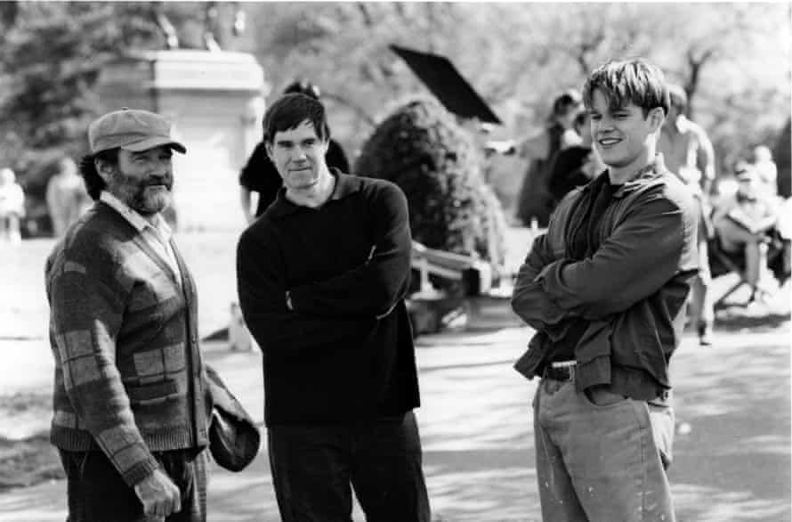 On the set of Good Will Hunting with Gus Van Sant and Matt Damon.