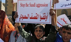 Yemenis protest at Saudi-led military operations.