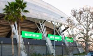 Barbara Kruger installation at Banc of California Stadium