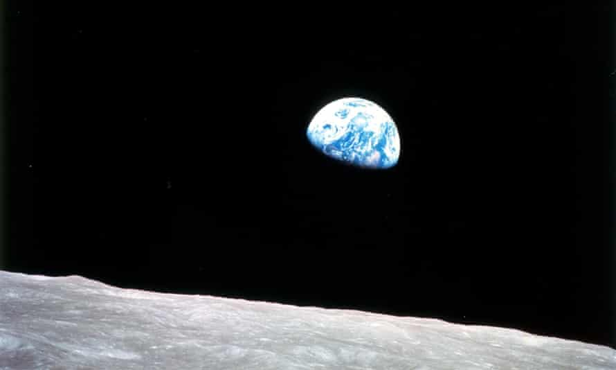 Flat Earthers believe this photo of the Earthrise taken in 1968 from Apollo 8, is a fake.