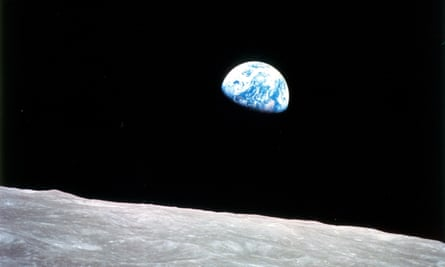Earthrise over the moon, photographed on Christmas Eve 1968 from Apollo 8 by William Anders.