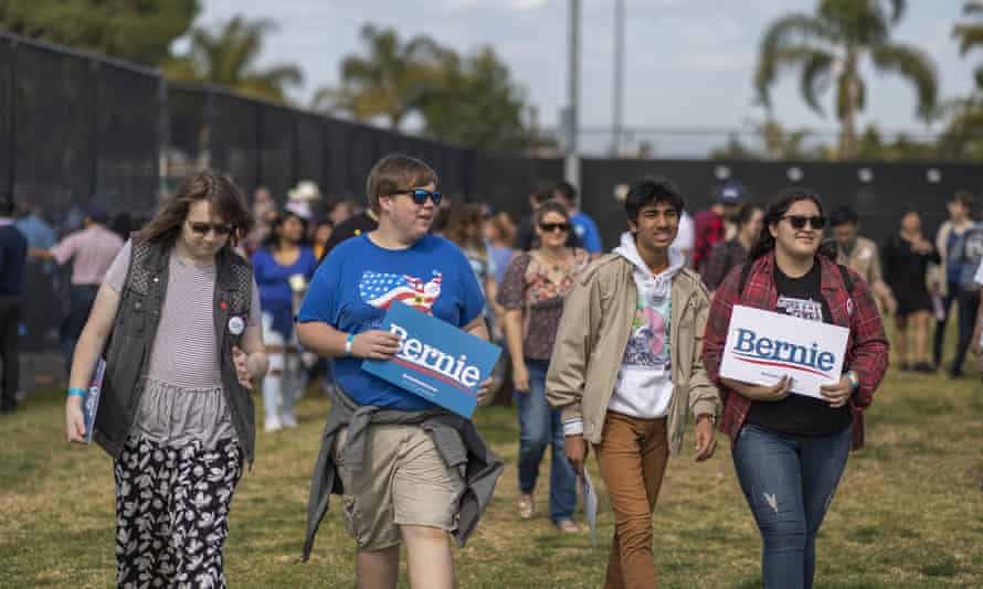 Supporters of Bernie Sanders attend a rally at Valley high school in Santa Ana, California, on 21 February.