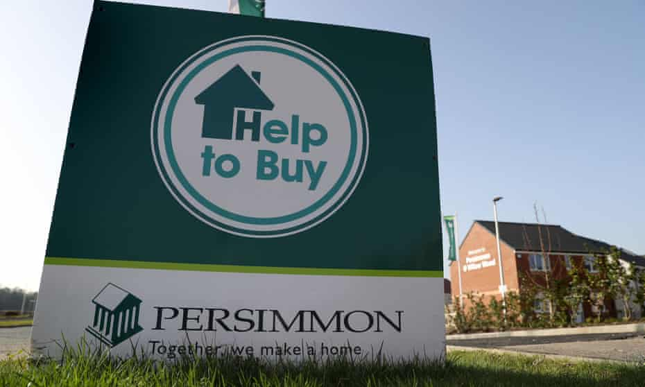 A Persimmon Help to Buy advertising board.