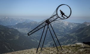 Swiss acrobat Ramon Kathriner performs with the Wheel Of The Death during the Glacier 3000 Air show marking the reopening of the Alpine facilities above Les Diablerets following the Covid-19 lockdown