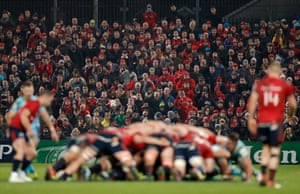 The crowd watch a scrum during Munster's game against Exeter in the European Champions Cup at Thomond Park.