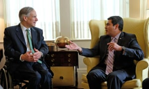 Greg Abbott meets the Honduran president Juan Orlando Hernández. Abbott has defended the state's same-sex marriage ban in the past.