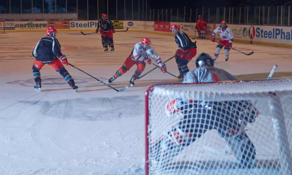 The icemen cometh: Sheffield Steel players practise at the city's Motorpoint Arena.
