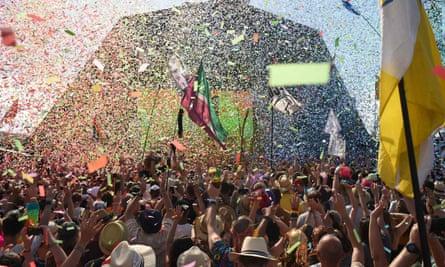 Crowds watch Kylie perform at last year's Glastonbury festival.