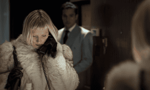 A coat the size of a slaughtered yeti … Mia Wasikowska in Piercing.