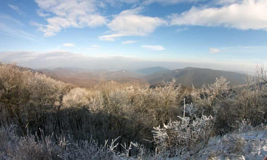 Dobogókő, in winter, Hungary.