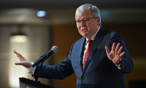 Former Australian prime minister Kevin Rudd is seen addressing attendees during CEDA's 2020 Economic and Political Overview (EPO) in Sydney, Wednesday, February 12, 2020.