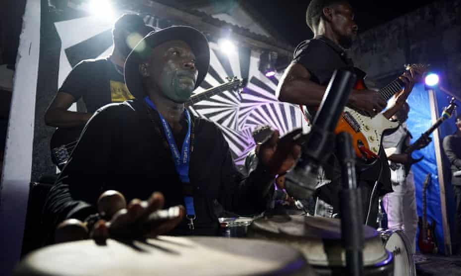 The Bana OK band plays a Congolese rumba tune at La Septante club in the Kasa-Vubu quarter in Kinshasa, Democratic Republic of Congo.