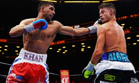 Amir Khan on the way to defeating Chris Algieri in May, but he is likely to have to work a lot harder against Saúl 'Canelo' Álvarez on 7 May in Las Vegas.