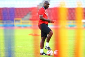 Sol Campbell at a Trinidad and Tobago training session in March. He is working with them as an assistant coach.
