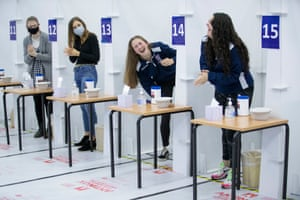 St Andrews, Scotland Students get a Covid-19 test at a mass testing centre set up at the sports centre at St Andrews University, ahead of the Christmas holiday. Students across the country are being encouraged to get a coronavirus test before returning home for the Christmas period
