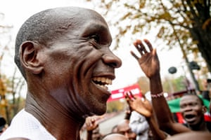 The Kenyan marathon world record holder and Olympic champion celebrates after the INEOS 1:59 Challenge.