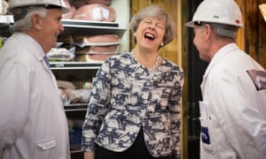 Theresa May at Smithfield Market in the City of London on the final day of campaigning.