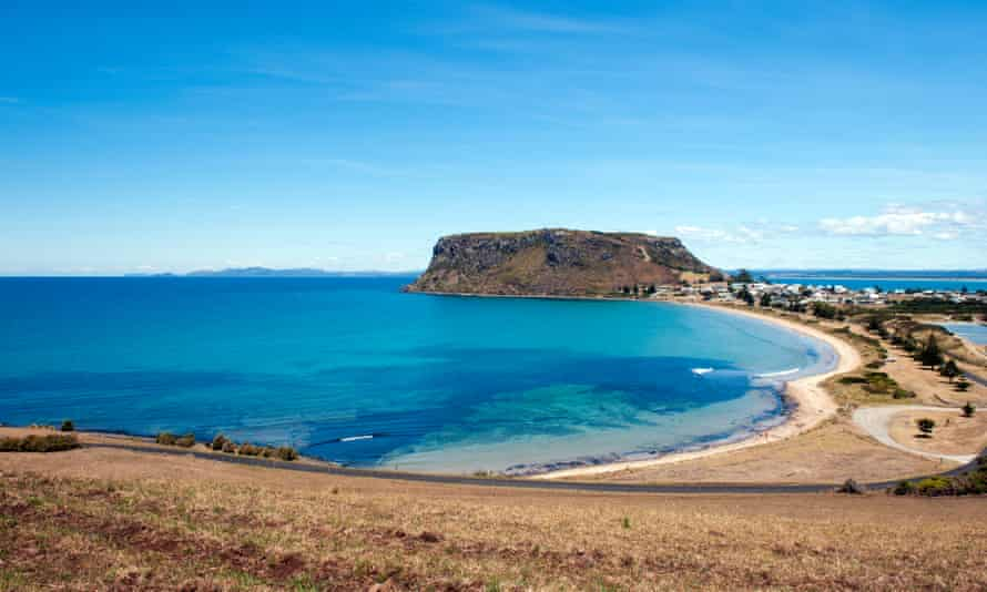 View over the Nut, remnant of an extinct volcano, and the town of Stanley in north-western Tasmania