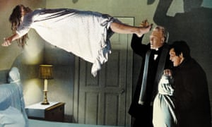 Actor Linda Blair levitates in a scene from The Exorcist.