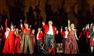 The whole world is a joke... Ambrogio Maestri as Falstaff (centre) in the opera's final scene at the Royal Opera House