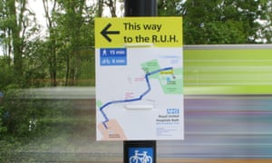 Strider Map in Bath - simple signposting to the Royal United Hospital