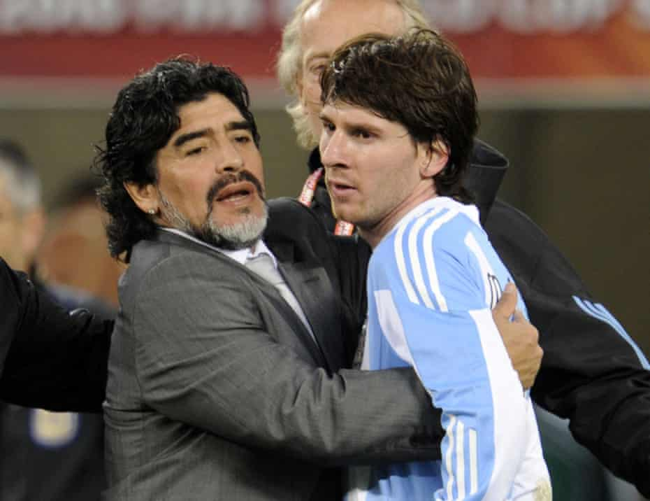 Diego Maradona hugs Lionel Messi after Argentina's 2010 World Cup quarter-final defeat against Germany in Cape Town.