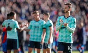 James Maddison applauds fans after the match.