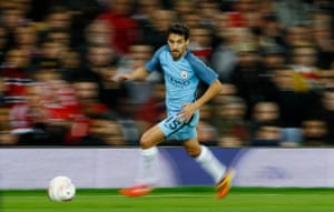 Manchester City's Jesus Navas goes on the charge.