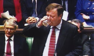 Ken Clarke takes a sip of whisky as he announces that spirits are down in price by 4% during his budget speech as John Major's chancellor in 1995.
