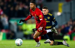 Rhian Brewster in action for Liverpool against Arsenal in the Carabao Cup earlier this season.