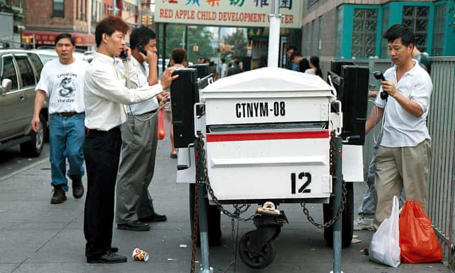 Phones set up on a Chinatown street after the lines went out on 9/11.