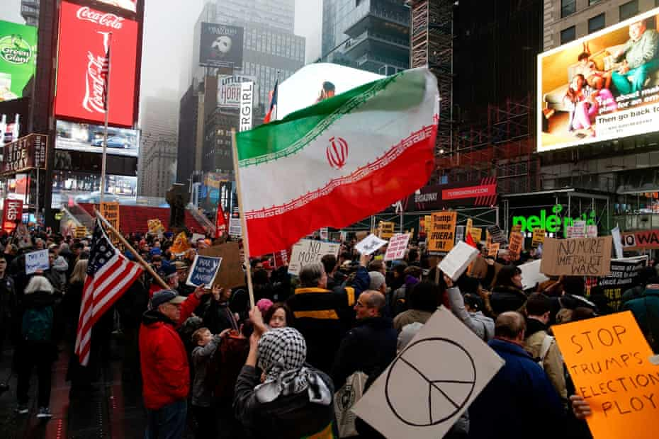 Protesters march through Times Square in New York.