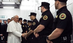 Pope Francis greets corrections officers at the Curran-Fromhold Correctional Facility in Philadelphia, during his visit there Sunday, Sept. 27, 2015. (Todd Heisler/The New York Times, Pool)