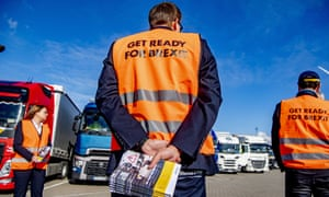 Port of Rotterdam employees hand out Brexit flyers to truck drivers.