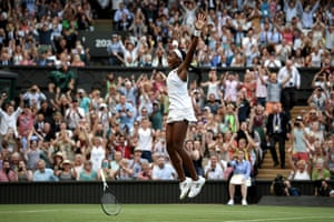 Cori Gauff of the US celebrates her win against Slovenia's Polona Hercog in the women's singles third-round match at Wimbledon