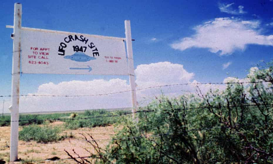 A sign off route US 285, north of Roswell, New Mexico, points to the what UFO enthusiasts say was a 1947 crash of an unidentified object covered up by the government.