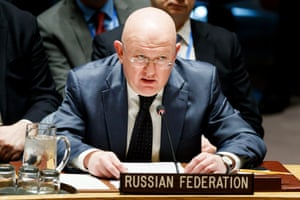 Vassily Nebenzia addresses the UN security council meeting called by Russia in response to the escalating situation in Syria.